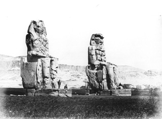 Beato, A., The Theban west bank, the Memnon Colossi (before 1872