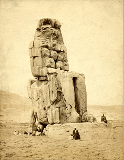 Good, F. M., The Theban west bank, the Memnon Colossi (c.1860 [Estimated date.]) (Enlarged image size=55Kb)