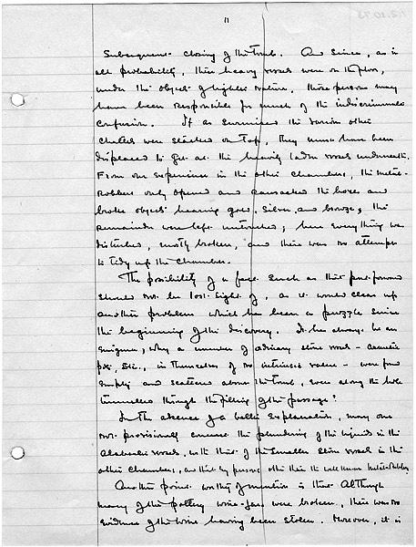 Howard Carter's notes