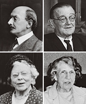 Left to right: Professor Francis Llewellyn Griffith; Professor Jaroslav Cern�; Dr Rosalind Moss; Mrs Ethel Burney