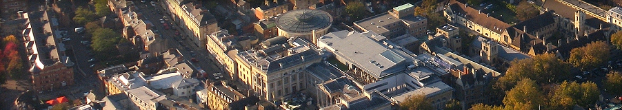 Aerial view showing Sackler Library and Ashmolean Museum